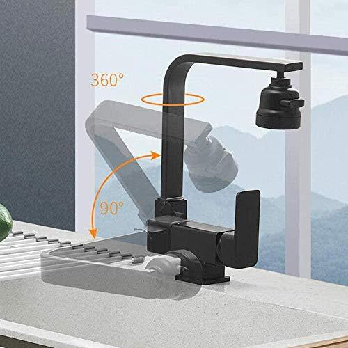 Grifo de cocina de ventana frontal Grifo plegable de cocina Grifo de fregadero de latón negro Grifo de cocina giratorio de 3 modos caliente y frío