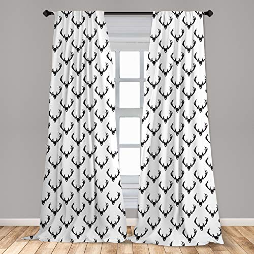 """Lunarable Antlers Window Curtains, Monochrome Deer with Horn Rustic Country Life Characters Retro Graphic Design, Lightweight Decorative Panels Set of 2 with Rod Pocket, 56"""" x 63"""", White and Black"""