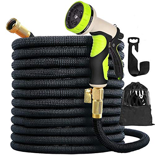 100ft New Expandable Garden Hose - Superior Strength 3750D, 4-Layers Latex with 3/4' Solid Brass Connectors, 10 Function Spray Nozzle, Easy Storage Kink Free Flexible Lightweight Water Hose
