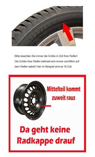 Eight Tec Handelsagentur (Farbe & Größe wählbar!) 16 Zoll Radkappen AGAT (Schwarz matt) passend für Fast alle Fahrzeugtypen (universal)