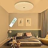 SHILOOK Lámpara Led Techo Redondo Mando Distancia 24W para Dormitorio Habitacion Infantil Juvenil, Moderna Estrellas Plafón 3000K a 6500K, 2050LM, Blanca 40cm