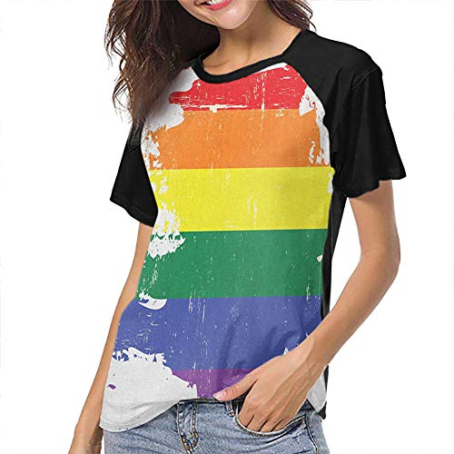 Vintage Rainbow Baseball Short Sleeves for Women Wear Inner and Outer
