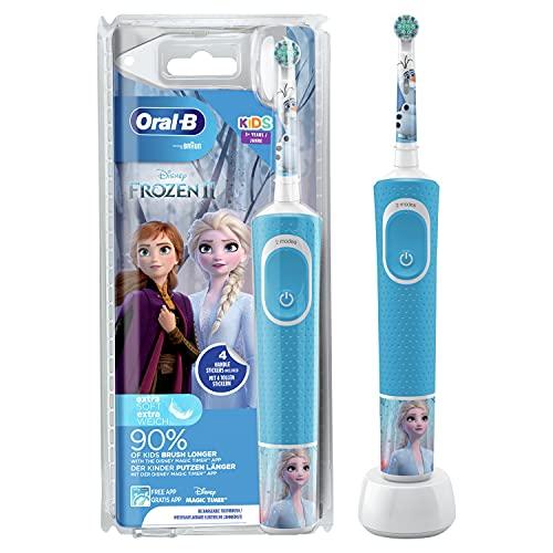 Oral-B Kids Frozen Elektrische Zahnbürste für Kinder ab 3 Jahren, kleiner Bürstenkopf & weiche Borsten, 2 Putzprogramme inkl. Sensitiv, Timer, 4 Disney-Sticker, blau