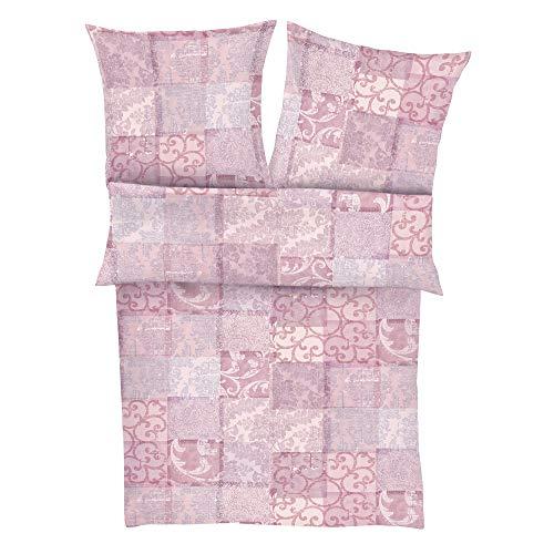 Zeitgeist Bettwäsche 135x200cm, flauschig warme Biberbettwäsche,100% Baumwolle, rosa, 2 teiliges Set aus Deckenbezug 135x200 und Kissenhülle 80x80, Reißverschluss
