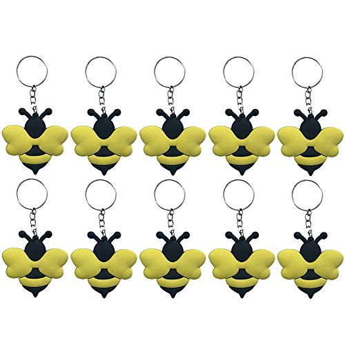 Finduat 20 Pcs Bee Keychains for Bee Theme Party Favors Pendant, Birthday Party Centerpiece Decorations, Baby Shower Party Favors for Kid Toy Ornament Souvenirs Gift