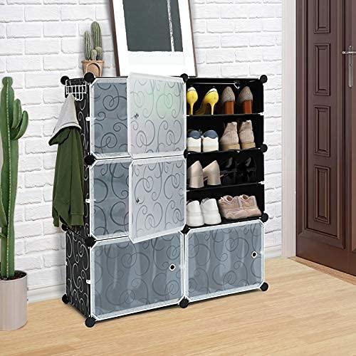 Organizador portátil de zapatos, estantes de torre de almacenamiento de cubos de 6 niveles para 24 pares de zapatos, gabinete modular ...