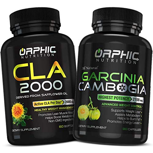 Garcinia Cambogia Extract 2100 MG & CLA Safflower Oil Supplement 2000mg (90 Caps + 60 softgels) - Appetite Suppressant, Metabolism & Building Lean Muscle Mass, Weight Loss & Carb Blocker Capsules
