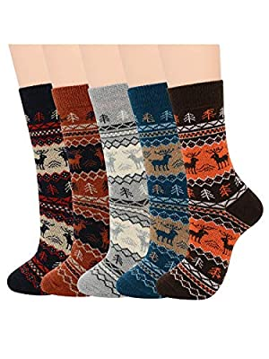 Century Star Mens Warm Thick Socks Cozy Wool Sock Winter Athletic Socks Retro Cashmere Sock Crew Socks 5 Pairs Cute Deer One Size