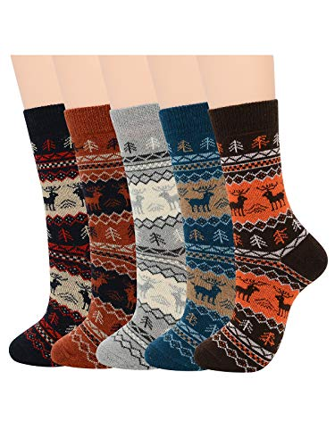 Century Star Mens Athletic Socks Outdoor Sports Hiking Trekking Crew Socks Warm Thick Socks Cozy Wool Sock 5 Pairs Cute Deer One Size