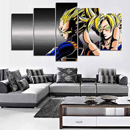 CGHBDOP Bilder 150Cmx80Cm Vlies Leinwandbild 5 TLG Kunstdruck Modern Wandbilder XXL Wanddekoration Wand Bild Dragon Ball DBZ Goku Und Vegeta
