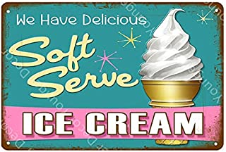 Roovtap Metal Sign Tin Sign Ice Cream Painting Poster Wall Art Home Kitchen Shop Decoration Retro Iron Plaque Metal Tin Si...