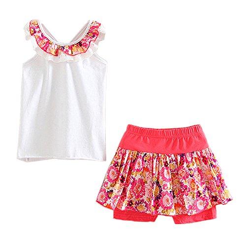 LittleSpring Little Girls' Shorts Set Summer Flower Sleveless Size 7(tag140) White