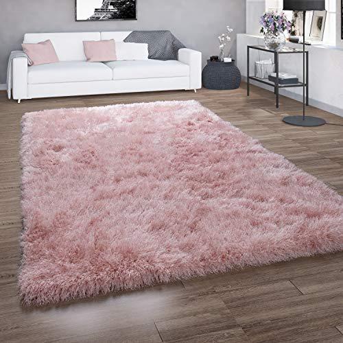 Paco Home Hochflor-Teppich, Shaggy Für Wohnzimmer, Mit Glitzer-Garn, Einfarbig In Rosa, Grösse:140x200 cm