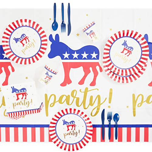 Dinnerware Set for Election Day Party, Democrat (145 Pieces, Serves 24)