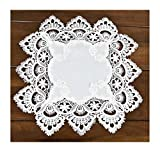Square Placemat or Doily in White European Lace and Antique Jacquard Fabric, Size 14 Inches Square