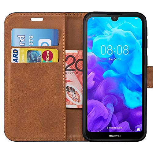 Case Collection Hochwertige Leder hülle für Huawei Y5 2019 Hülle (5,71