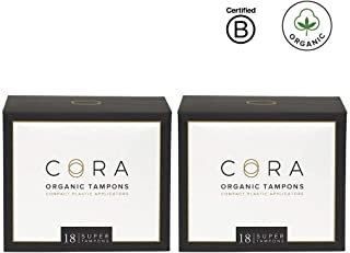 Cora Organic Cotton Tampons with BPA-Free Plastic Compact Applicator - Chlorine & Toxin Free - Super (36 Count)