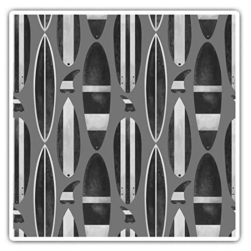Impresionantes pegatinas cuadradas (juego de 2) 10 cm BW – patrón de tabla de surf playa mar divertido calcomanías para portátiles, tabletas, equipaje, reserva de chatarras, neveras, regalo genial #35491