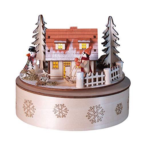 OBC Spieluhr Winterhaus bunt mit LED-Licht 13cm, Weihnachtslied Stille Nacht/Spieldose Holz Handbemalt Erzgebirge-Stil/Deko Advent & Weihnachten