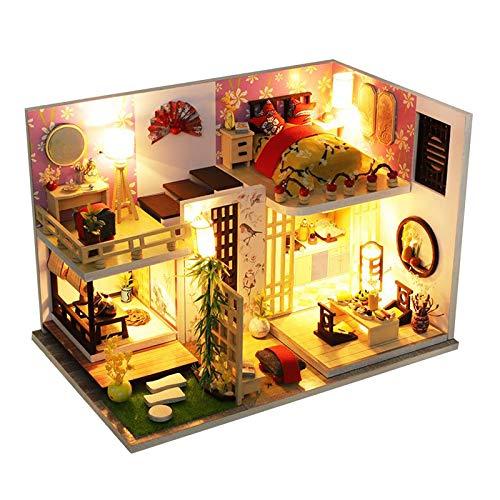 SM SunniMix Kit de Madera de casa de muñecas DIY 1/24, Modelo de Casa Miniatura de Muebles de Montaje, Juguete de casa de muñecas Modelo Hecho a Mano para Regalo