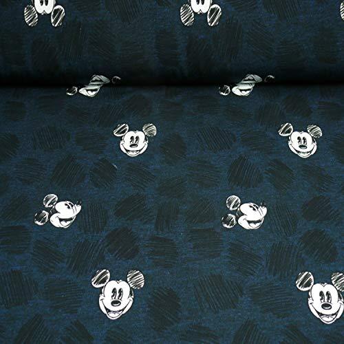 Disney Sweat Micky, meliert, Köpfe, Öko-Tex Standard 100, dunkelblau (25cm x 160cm)