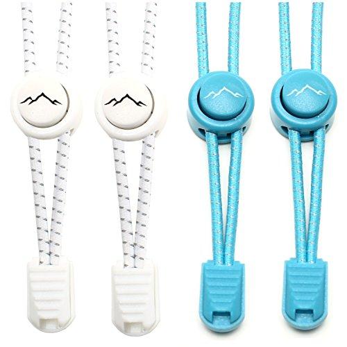 gipfelsport Elastische Schnürsenkel mit Schnellverschluss - Gummi Schnellschnürsystem ohne Binden | Schnürsystem für Kinder, Herren, Damen I 2X Paar: weiß/blau