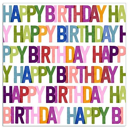 ARTEBENE Serviette Papierserviette Happy Birthday Tissue | 33 x 33 cm | 20 Stück | 3-lagig | Hochwertige Serviette für Feiern, Geburtstage, Kaffee und Kuchen (Beere)