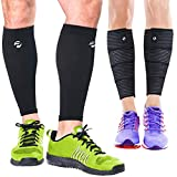 Calf Compression Sleeves and Leg Wraps (4 Piece) Shin Splint Support, Calve Guards for Men and Women - Braces Provide...