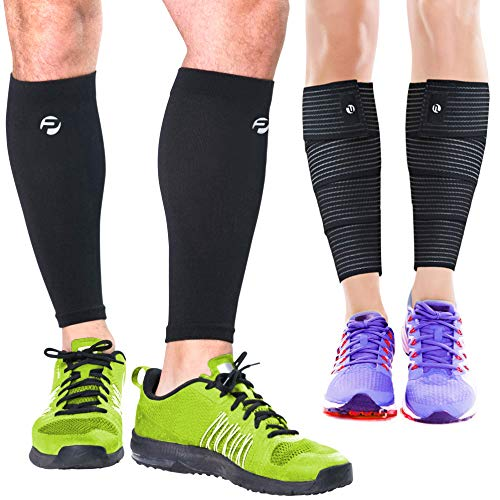 Calf Compression Sleeves and Leg Wraps (4 Piece) Shin Splint Support, Calve Guards for Men and Women - Braces Provide Healthy Circulation Pain Relief for Running, Basketball, Cycling, Maternity (L/XL)
