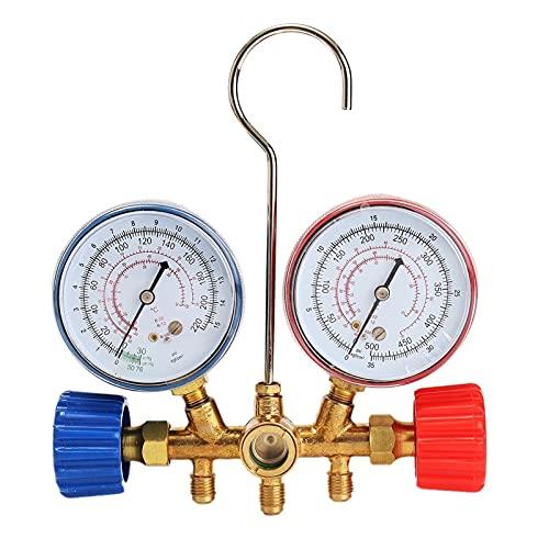 Detector de fugas de gas Coche HVAC A/C Refrigeración Kit de Manómetros fijado for el R22 R12 R134A Auto refrigerante H /L Acoplador rápido de Manómetros del sistema de herramienta Detector de fugas d