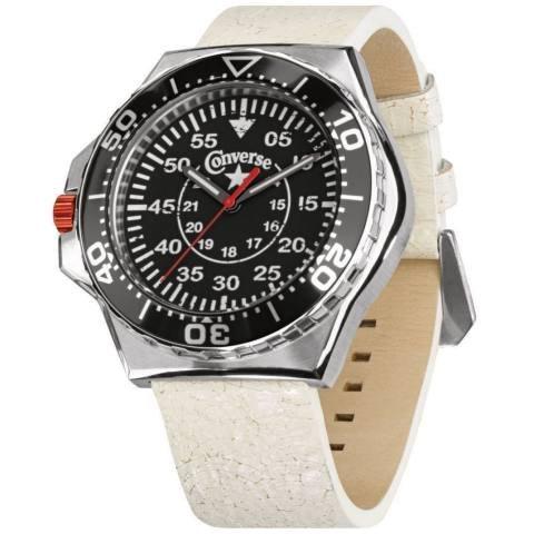 Converse VR008-150 - Reloj Unisex de Cuarzo, Correa de Piel Color Blanco