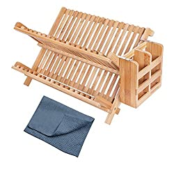 Bamboo dish rack with drain tray