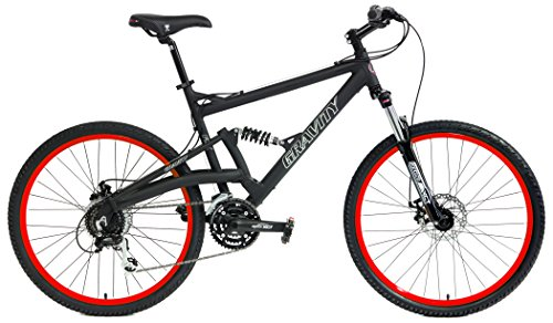 2020 Gravity FSX 2.0 Dual Full Suspension Mountain Bike with Disc Brakes (Matt Black with Red Wheels, 15inch)