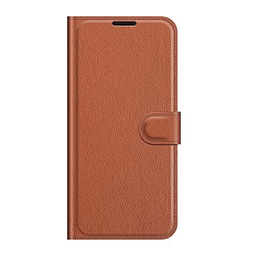 zl one Compatível com/capa de celular Moto P40 Power/One Action couro PU proteção compartimentos para cartões capa carteira flip (marrom)