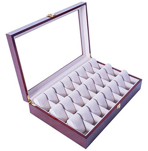 Feibrand Uhrenbox für 24 Uhren Uhrenkasten Holz (Rot)