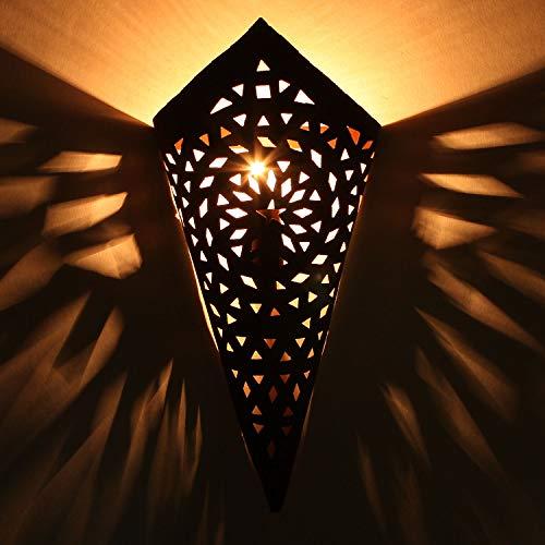Orientalische Wandleuchte marokkanische Eisen-Wandlampe EWL03 edel rost-braun H40 x B18 cm Eisen-Lampe für Flur & Wand-Deko | Prachtvolle Flurlampe für tolle Lichteffekte wie aus 1001 Nacht | L1628