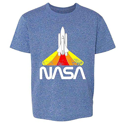 NASA Approved Blast Off Retro Worm Logo Heather Royal Blue L Youth Kids Girl Boy T-Shirt