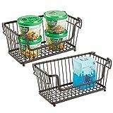 mDesign Cesta almacenaje apilable con Apertura Frontal y Asas - Organizador Cocina de Acero Uso Universal en la Cocina, despensa o baño - Bronce
