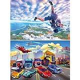 GREAT ART Set di 2 Poster XXL – Sport – Paracadutisti & Corse di Auto Skydiver Caduta Libera Cars Cartoon Comic Illustration Decorazione da Parete (140 x 100cm)