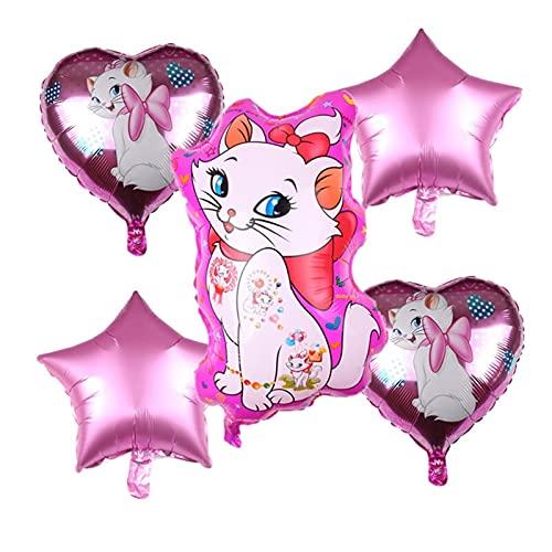 JYDZSW Globo 5 unids Marie Cat Theme Aluminio Globo Set Love Shape Balloon Fiesta de Cumpleaños Decoración Fiesta Suministros Fiesta Foil Balloons (Color : 5Pcs Balloon)