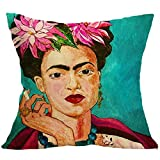 CQ Funda de cojín Lino y algodón, Pintor Mexicano Frida·Caro para sofá, Silla, Funda de Almohada Cuadrada de Coche de 18 x 18 Pulgadas, 08