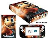 FENGLING Mario Design Vinyl Skin Sticker para la Cubierta de la Consola Wii U con 2 Controles remotos Skins
