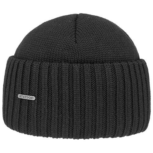 Stetson Northport Wintermütze aus Merinowolle - Mütze Made in Italy - Seemannsmütze für Damen/Herren - Wollmütze Herbst/Winter - Merinomütze schwarz One Size