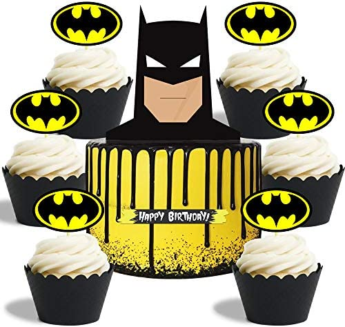 Cake Topper for Batman Cake Topper Cupcake Toppers Birthday Party Cake Cupcake Decorations product image