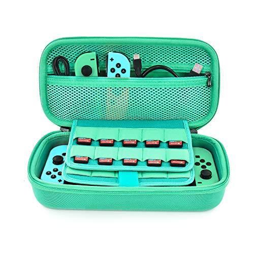 Tasche für Nintendo Switch - Younik Verbesserte Version Harte Reise Hülle Case mit größerem Speicherplatz für 19 Spiele, offizieller Wechselstromadapter und anderes Nintendo Switch Zubehör (Grün)