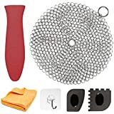 "Cast Iron Cleaner 7"" Circle Premium Stainless Steel Chainmail Scrubber Cast Iron Cleaning Kit Hot Handle Holder + Pan Scraper + Grill Scraper + Kitchen Towel (6 Pack)"