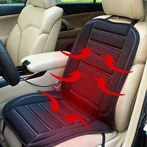 Autostoelovertrek, 12 V, warme autostoel, elektrische verwarming, kussensloop, voor autoaccessoires, bureaustoel, kleur: zwart zwart