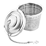 UPKOCH Stainless Steel Tea Ball Strainer - Soup Seasonings Spice Separated Basket Filter Cooking Infuser with Chain Hook for Brewing Loose Leaf Tea Spice Herb 4.5cm