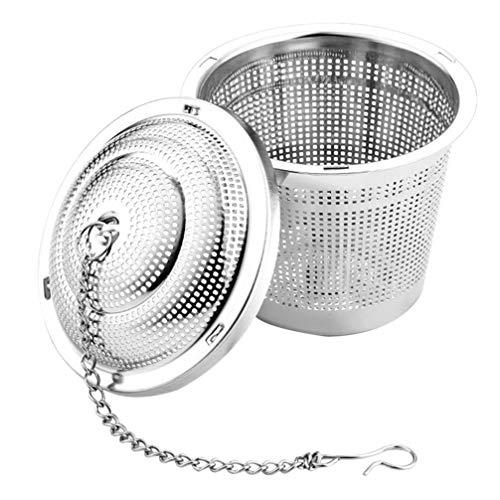 UPKOCH - Colino a sfera in acciaio INOX, per zuppe, spezie, filtro separato, infusore da cucina con gancio a catena, per preparare foglie di tè sfuse e spezie, 4,5 cm
