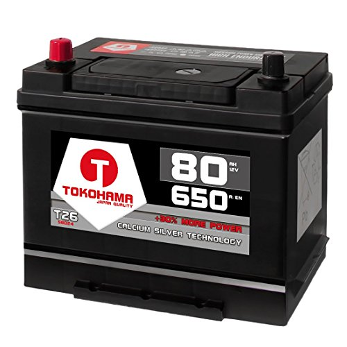 Tokohama Autobatterie 80Ah 12V 650A/EN Asia Japan Starter Batterie Plus Pol Links ersetzt 70Ah 75Ah